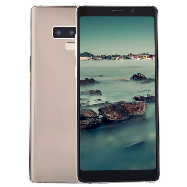 Cheap 3G WCDMA Goophone Note9 Note 9 1GB 8GB Fingerprint Face ID Iris Quad Core MTK6580 6.3 inch Full Screen Smartphone Black Blue Gold Red