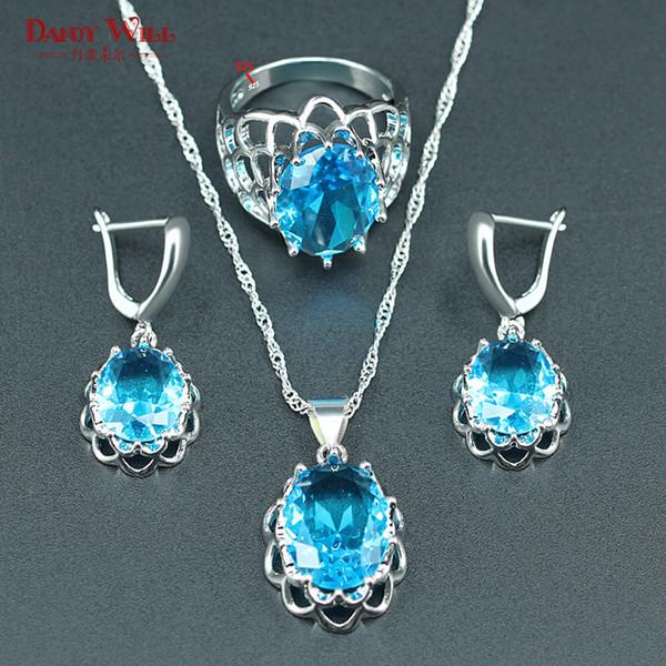 Bijoux en argent 925 Bijoux de mariage en cristal bleu ciel pour femmes Collier Boucles d'oreilles Anneaux Pendentifs