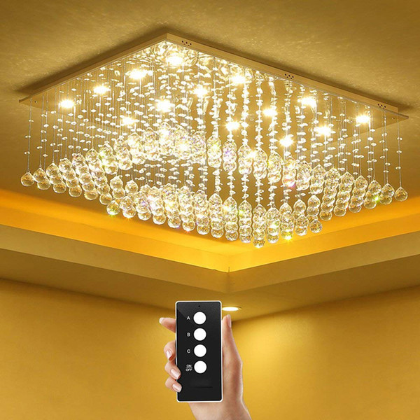 New Remote control LED3 brightness K9 Crystal living room lamps Ceiling Lights Fixture Lamps Chandeliers restaurant lights Crystal Lights