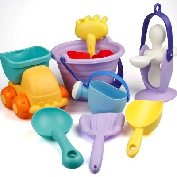Soft rubber beach toy set children's bath toys children playing water digging sand baby shovel sandglass tool