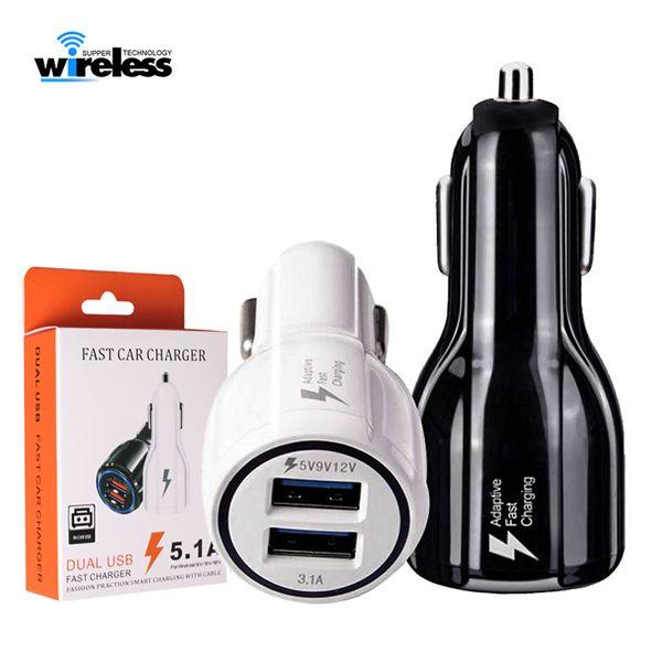 Cargador de coche 9V 2A 12V 1.2A QC3.0 carga de coche rápida 3.1A Cargador adaptador USB doble para teléfonos inteligentes con paquete