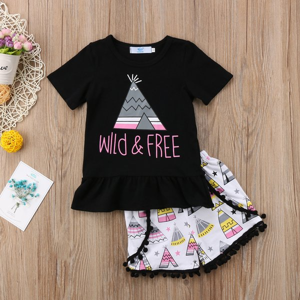 Kids Girls Clothes Summer Outfits Top+Shorts Two-pieces a set Wild and Free Black White Baby Girl Geometric Boutique Clothing Toddler 1-6Y