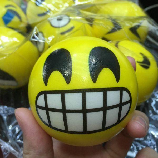 6.3cm QQ Emoji Smiling face ball Stress Squeeze Ball Wrist Finger Training Balls Soft Sponge PU Ball Children Kids Toys 012