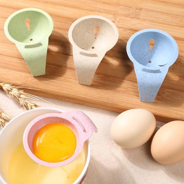 4 colores huevo Separador de plástico paja de trigo Yema de huevo blanco Separador hornada de la torta utensilios de cocina desayuno hace las herramientas