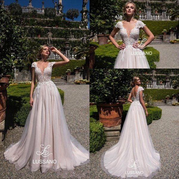 Modest Designer A Line Wedding Dresses 2019 Newest V Neck Lace Short Cap  Sleeves Bridal Gowns Custom Made Vestidos De Novia BC0193 Unusual Wedding