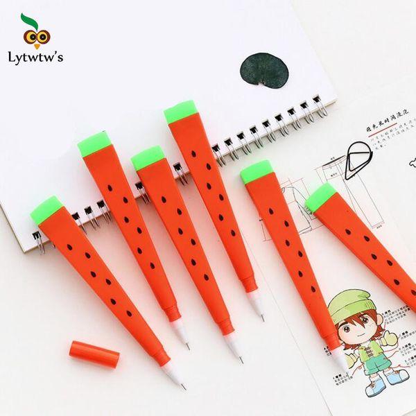 3 Piece Lytwtw's Korean Stationery Cartoon Cute Watermelon Pen Advertising Creative Bent School Office Gel Pens Gift