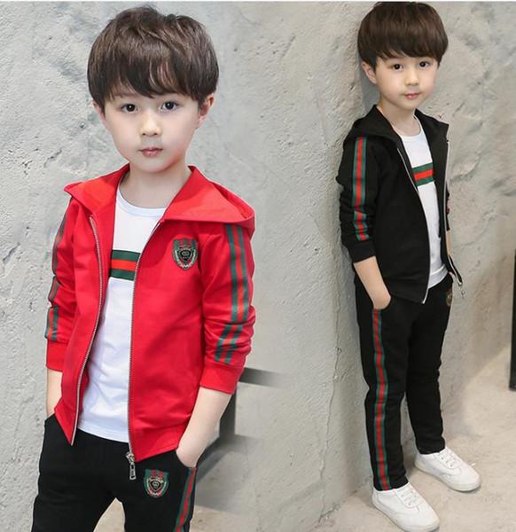 Çocuk takım elbise Kız Giyim Seti Çocuk Ceket T gömlek Pantolon 3 adet Set Yeni Sonbahar Genç Spor Takım Elbise Okul Üniforma