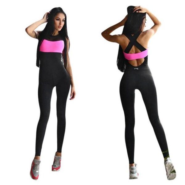 Wholesale- Summer Women Jumpsuit Wear Fitness Stretch Pants rompers womens Playsuit Sleeve Casual Playsuits Overalls Bodysuit
