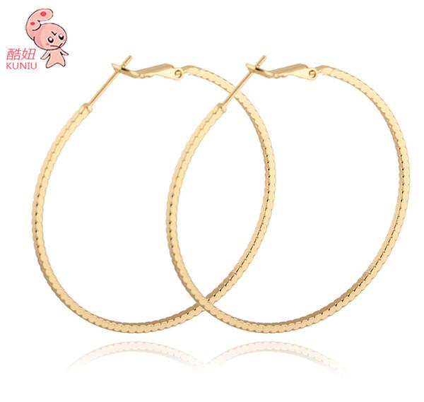 Tüm sale50mm 18 k Kaplama altın Kadınlar Için Büyük Moda Hoop Küpe Ücretsiz Kargo