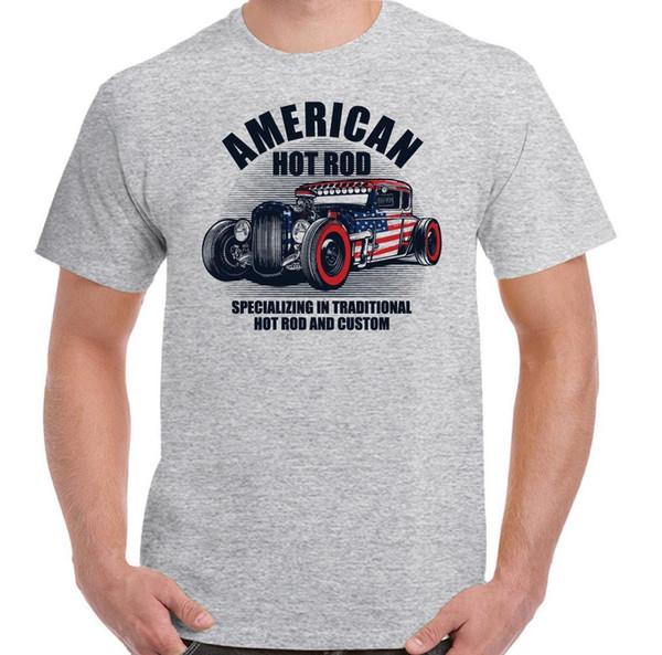 American Hot Rod Mens T-Shirt Clássico EUA Gás Custom Car Entusiasta Macaco