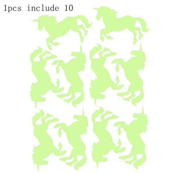 1 PCS Cute Unicorn Luminous Wandaufkleber Spielzeug für Kinder Kreative Pretty Kinderzimmer Möbel Dekoration Fluoreszierende Wandaufkleber