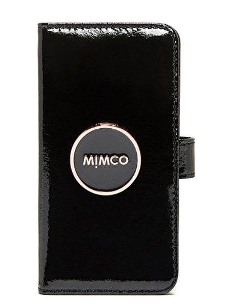 MIMCO ENAMOUR FLIP CASE FOR IPHONE 6 Wrinkle Patent Cow Leather Magnetic Closure iPhone6 Case---Black Rose Gold