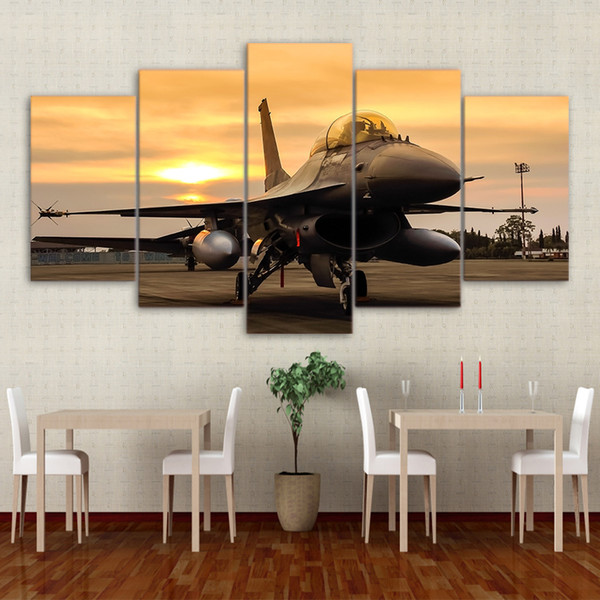 5 Panel Painting Canvas Art Space Airplane Sunset On Field Paintings for Living Room Canvas Print Modern Living Pictures