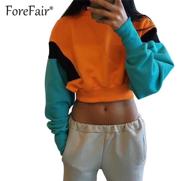 Forefair Casual Hoodies Women Sweatshirt 2018 Autumn Patchwork Long Sleeve Short Pullover Hoodie Ladies Tracksuits Sportswear