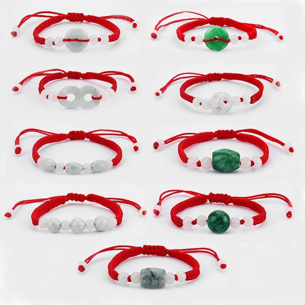 Dropshipping 6pcs Chinese Oriental Green/White Stone Feng Shui Stone Lucky Money Coin Beads Red String Ethnic Bracelet Classic Bangle