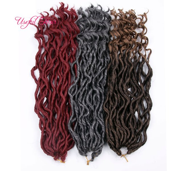 fashion OMBRE COLOR GODDESS LOCS HAIR marley braiding hair Extensions free ship 18inch crochet braids half wave half curly for women curl