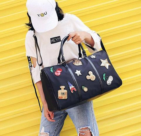 New sequins cherry large capacity travel bag light and folding Oxford cloth luggage bag green black satchel outsourcing