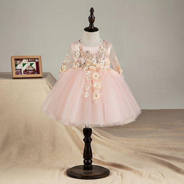 Top Qualidade Floral Bebê Recém-nascido Menina Vestido de Batismo Rosa Tule Infantil Meninas Princesa Batismo Vestido Da Criança Roupas de Aniversário