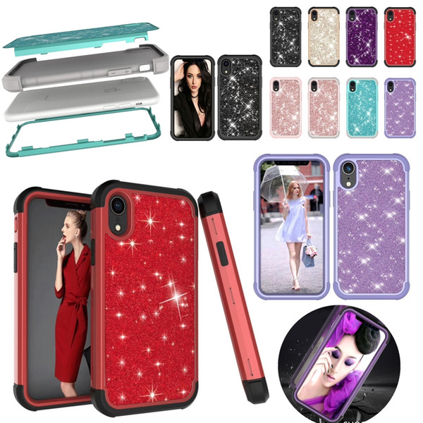 Bling Sticker Glitter Hard Case for iPhone XR XS Max X 8 7 6 Samsung Note 9 S9 Plus TPU PC Full Protective Shockproof Back