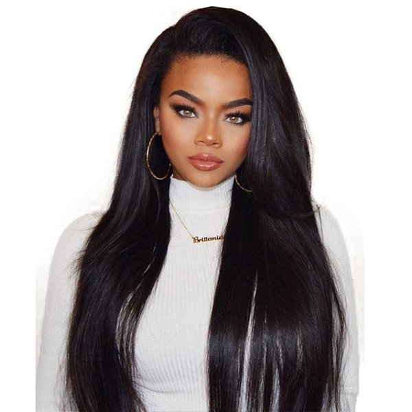Straight Human Hair Wigs for Black Women Bleached Knots Lace Front Wigs Peruvian Malasian Indian Brazilian Virgin Hair Wig