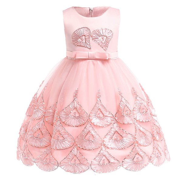 Floral girls dresses baby wedding dress for kids Suquin kids dress girl clothes birthday party princess party 3-10 year clothing