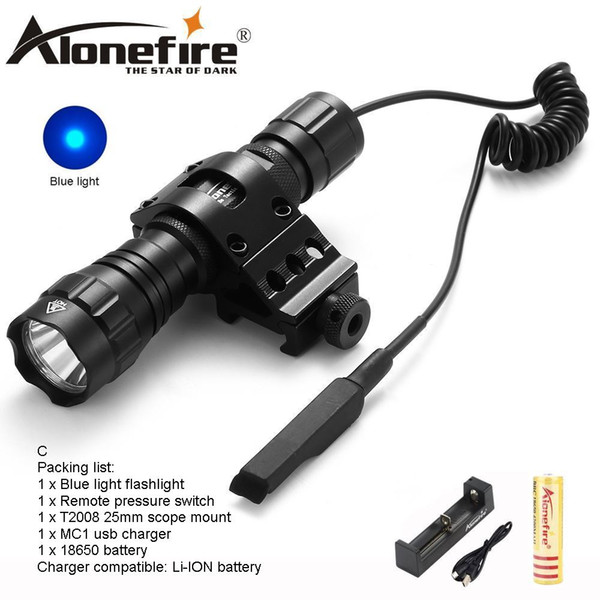 AloneFire CREE 501Bs Blue light LED Tactical Flashlight Flash torch Hunting Camping Linternas Mount Pressure Switch for 1x18650 battery