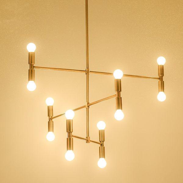 Lustre postmoderne en fer forgé personnalité créative bambou lampe hôtel projet d'appartement Nordique minimaliste salon lumière