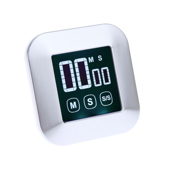 1Pc Cooking Timer Square LCD Digital Touch Screen Practical Alarm Clock Kitchen Tool
