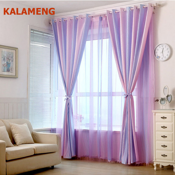 2019 Modern Strip Pink Purple Jacquard Girl Room Curtains Home Decor Tulle  Curtains For Living Room Bedroom Sheer Voile Drape WB0351 From Bowstring,  ...