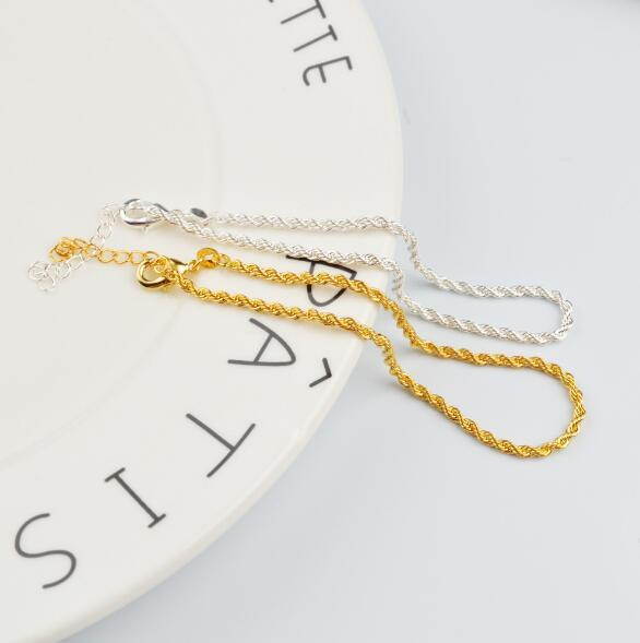 2018 hot sales plating 925 silver Gold 2mm Hemp rope chain Bracelet Foot chain Foot ornament 21.5cm+3cm girl woman Fashion ornaments