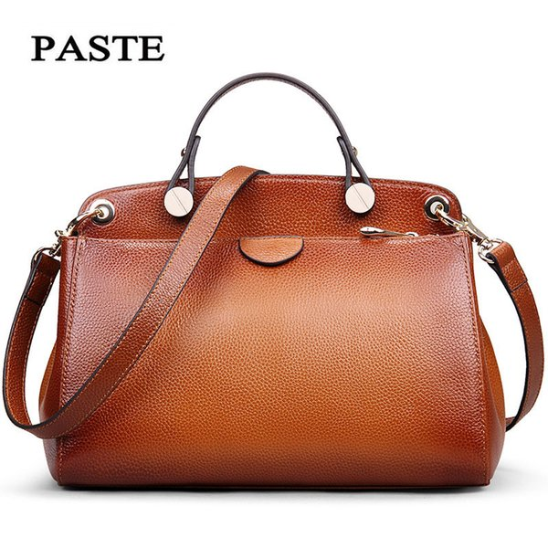 PASTE Newest Genuine Leather Women Bags Handbags Cow Leather Sprayed Color Female Vintage Shoulder Bag Soft Messenger Bags Brown