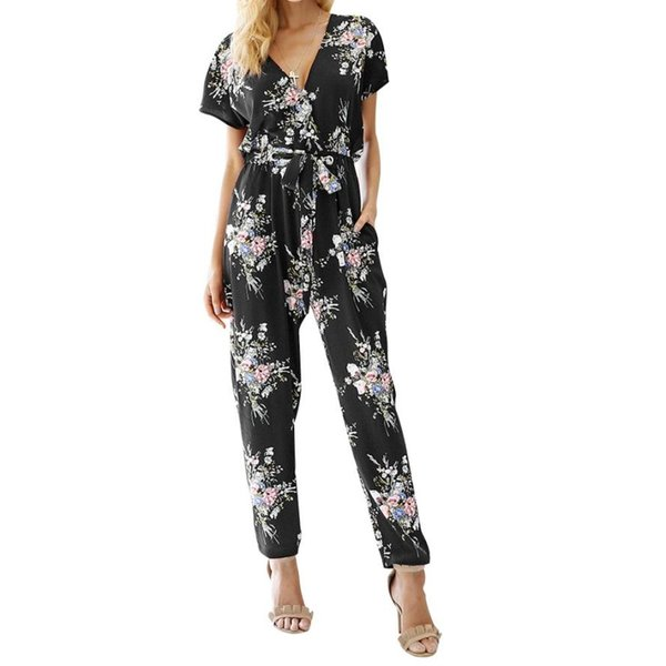 Women Floral Boho Workwear Jumpsuit Short Sleeve Casual Loose Belt Playsuit women's gloria jeans large sizes trousers C30815
