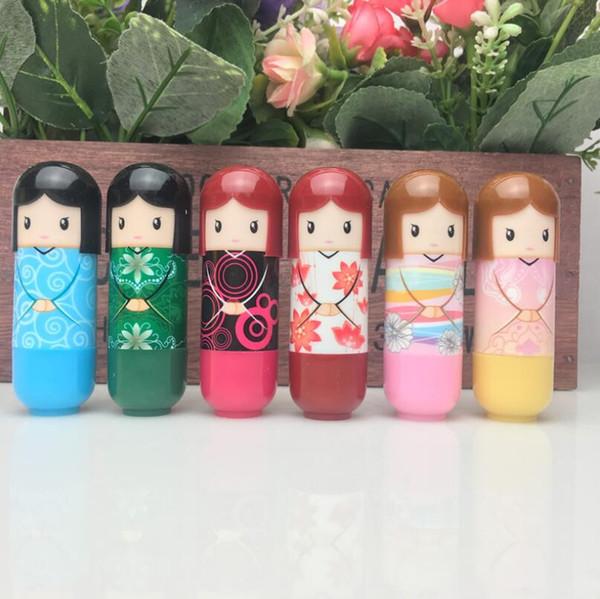 best selling Cute Kawaii Lip Balm Kimono Doll Makeup Cosmetic Tools Beauty Makeup Lipgloss Japanese Doll Style Lip Balm