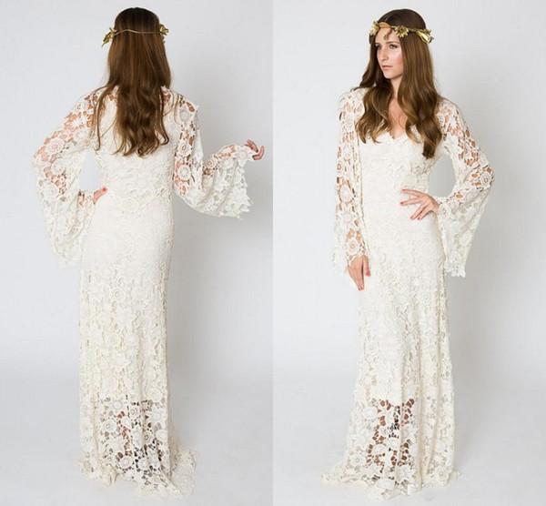 Acheter Robes De Mariee Boheme D Inspiration Vintage Dentelle Bell Sleeve Crochet Ivoire Ou Blanc Robe De Mariee Hippie Boho Brode Maxi Robes De