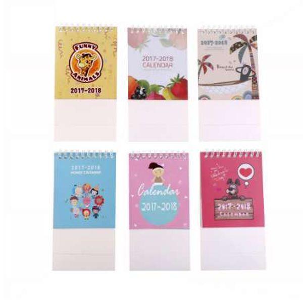 best selling 2018 Lovely DIY Animals fruit Mini Desktop Paper Calendar dual Daily Scheduler Table Planner Yearly Agenda Organizer