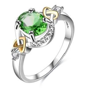 New products European and American fashion foreign trade wholesale hot style exquisite green zircon ring female creative design factory dire