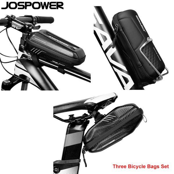 JOSPOWER Waterproof High Quality Bicycle Bags Set Bike Front Frame Bag Saddle Seat Tools Bag MTB Road Equipment Carbon Black