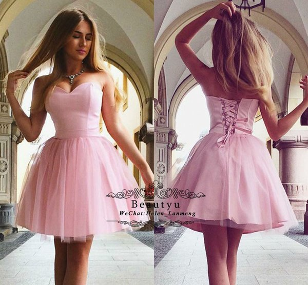 Cheap Pink Short Prom Homecoming Dresses Plus Size 2018 Arabic Cute Sweetheart Corset A Line Tulle Mini Cocktail Party Dress