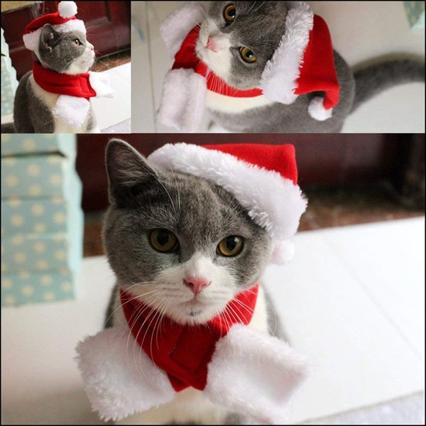 Dog Cat Caps Pet Santa Hat Birthday Scarf and Collar Bow Tie Christmas Costume for Puppy Kitten Small Cats Dogs Pets Accessories