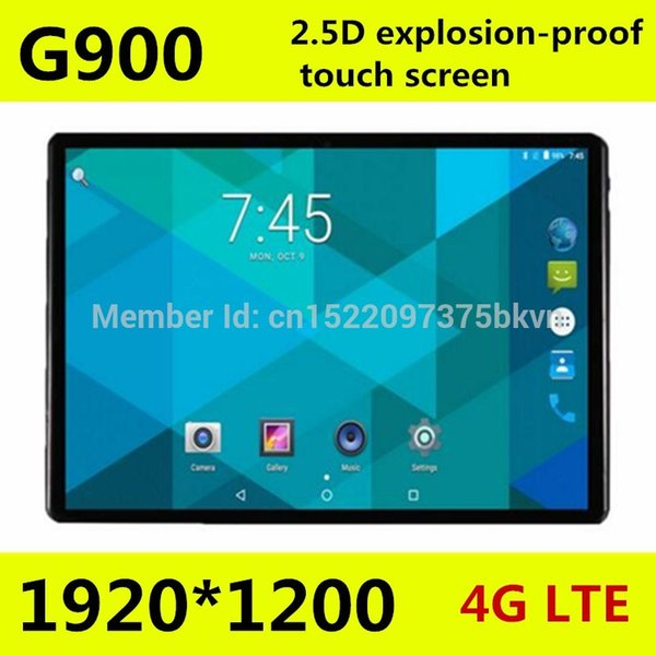 10,1 pouces Octa core tablet pc G900 2.5D écran Android 7.0 3G 4G LTE Dual SIM 1920 * 1200 IPS 4GB 128GB wifi Bluetooth tablettes