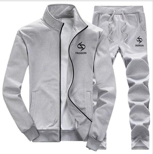 2018 Hombres Sportwear Suit Sudadera Chándal sin capucha Hombres Casual Active Suit Cremallera Outwear 2PC Jacket + Pants Conjuntos