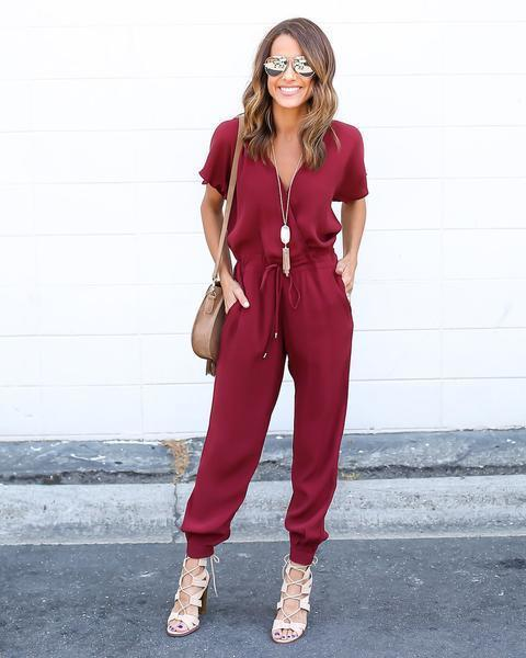High quality Sexy V-Neck Pleated Waist Pocket Rompers Jumpsuit clothes Loose Cross Overalls Black Red Short Sleeve Playsuit