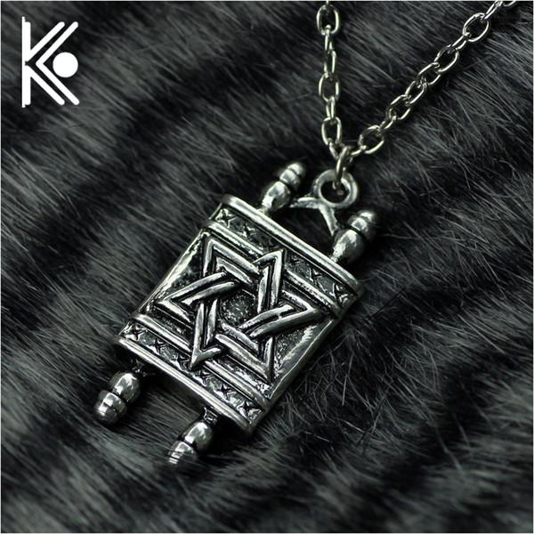 Judío hebreo Sefer Torá Scroll Hombres religiosos Collar colgante Mujeres con estrella de David collar de amuleto