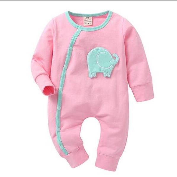 Babykleidung Neugeborenen Rosa Farben Strampler Säuglingskarikatur Elefanten Overall Mode Langarm Onesies Designer Lässige Kleidung YL785