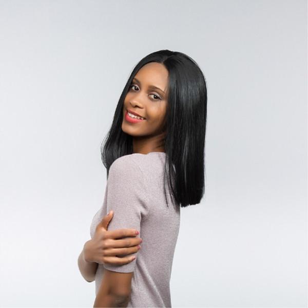 Top Qualité Suisse Synthétique Perruques Lace Front Droite Bob Cut Perruque pour Femmes 1b # Noir 14 Pouce Kanekalon Glueless Plein Perruques pour Femmes