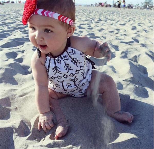Девочка стрелка кисточкой ползунки младенческой спинки Холтер комбинезон Baby рукавов стрелка комбинезон летняя одежда наряды Sunsuit
