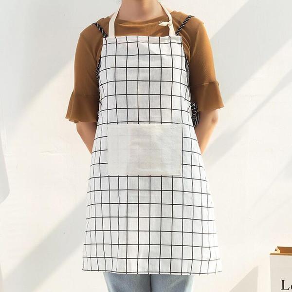 Grembiule regolabile con motivo a quadri - 4 colori Grembiule da cucina in misto cotone cuoco Grembiule da cameriere con tasche - Uniforme da cameriere di caffè server