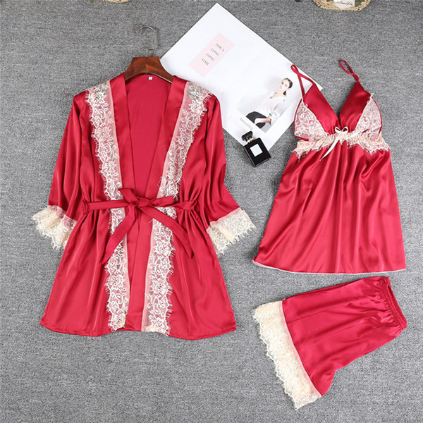 Sexy women's robe & gown sets twinest bathrobe + mini night dress three pieces sleepwear womens sleep set faux silk plus size