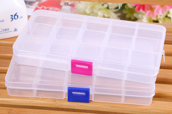 15 Compartment Plastic Clear Storage Box Small Box for Jewelry Earrings Toys Container Free Shipping