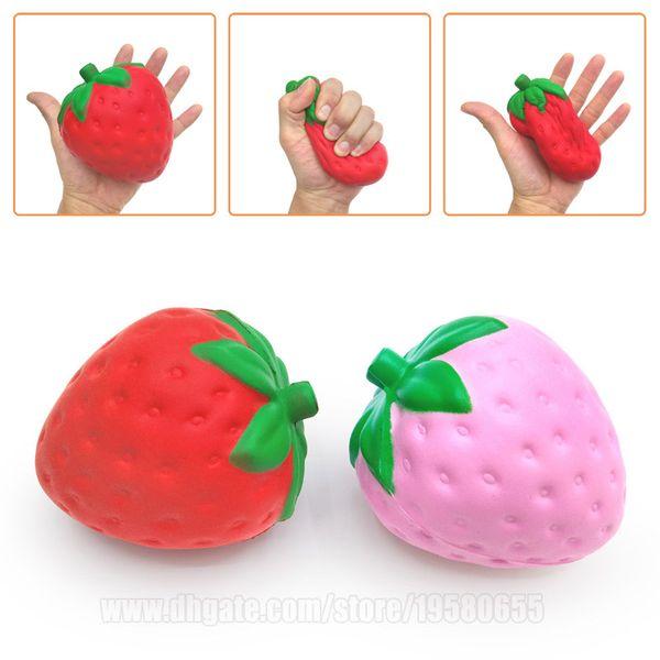 best selling Strawberry Squishies Fruit Imitation Fruitage Squishy Scented Jumbo Kawaii Slow Rising Big S Phone Pendant Free Shipping SQU007